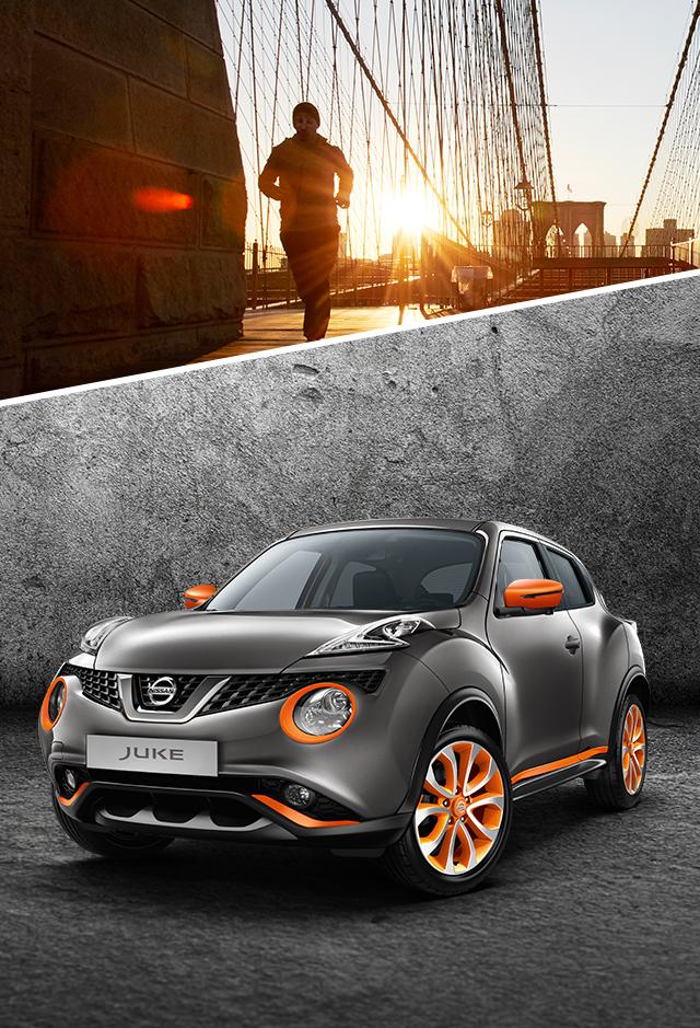 Nissan JUKE 2018: вид спереди с поворотом на 3/4, серый металлик с элементами персонализации оранжевого цвета (Energy Orange)
