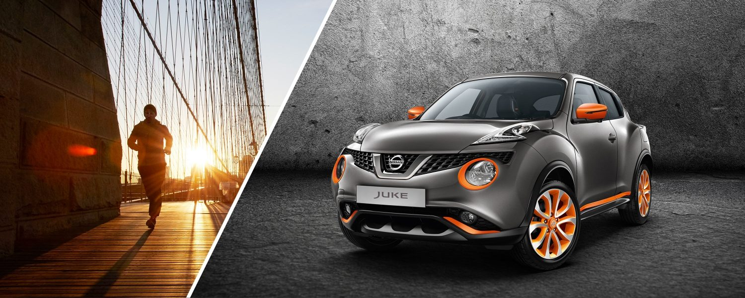 2018 Nissan JUKE 3/4 front dark grey with energy orange personalisation