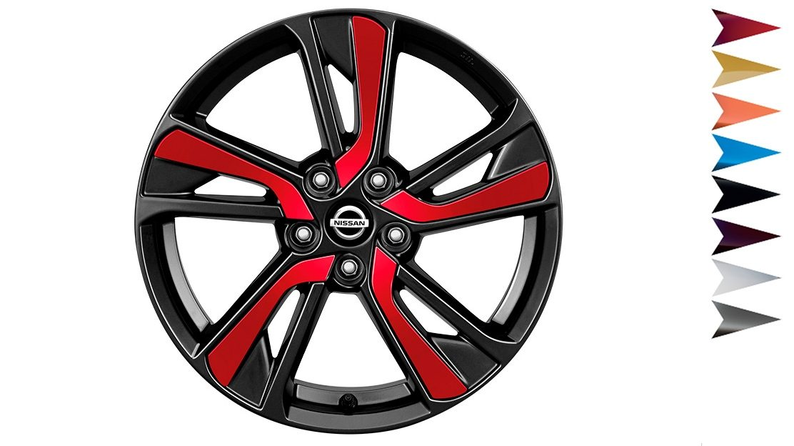 2018 Nissan JUKE 18 inch alloy wheel XENA diamond cut dark grey with red inserts