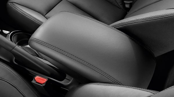 2018 Nissan JUKE front armrest leather style with black stitching