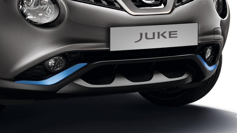 Nissan JUKE 2018: накладки на передний и задний бампер, синего цвета Power Blue