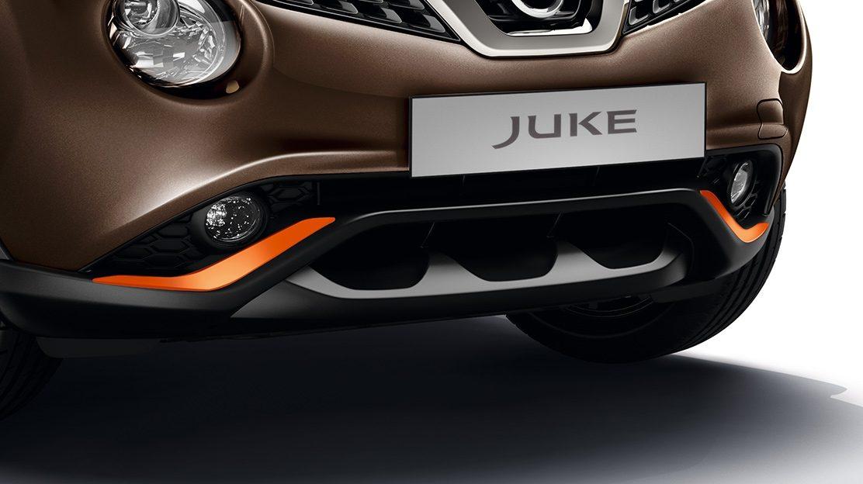 Nissan JUKE 2018: накладки на передний и задний бампер, оранжевого цвета Energy Orange