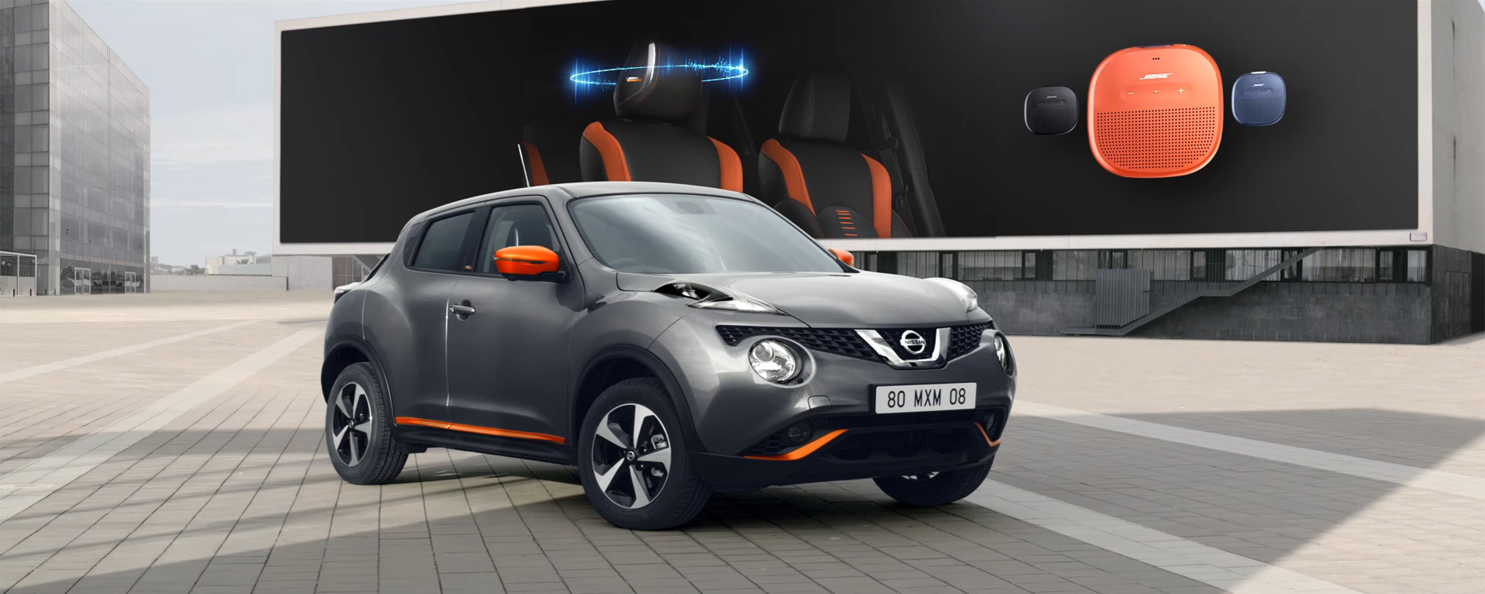 Nissan JUKE showing BOSE Sound System and BOSE Personal Portable Speaker in 3 colour options.