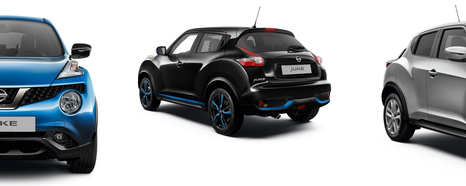 2018 Nissan JUKE packshots composition with blue full front, black 3/4 rear and silver 3/4 front