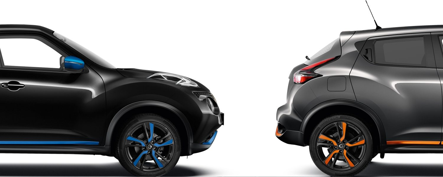 NISSAN JUKE 2018 Packshot-Komposition mit Profil in Black und Profil in Grey