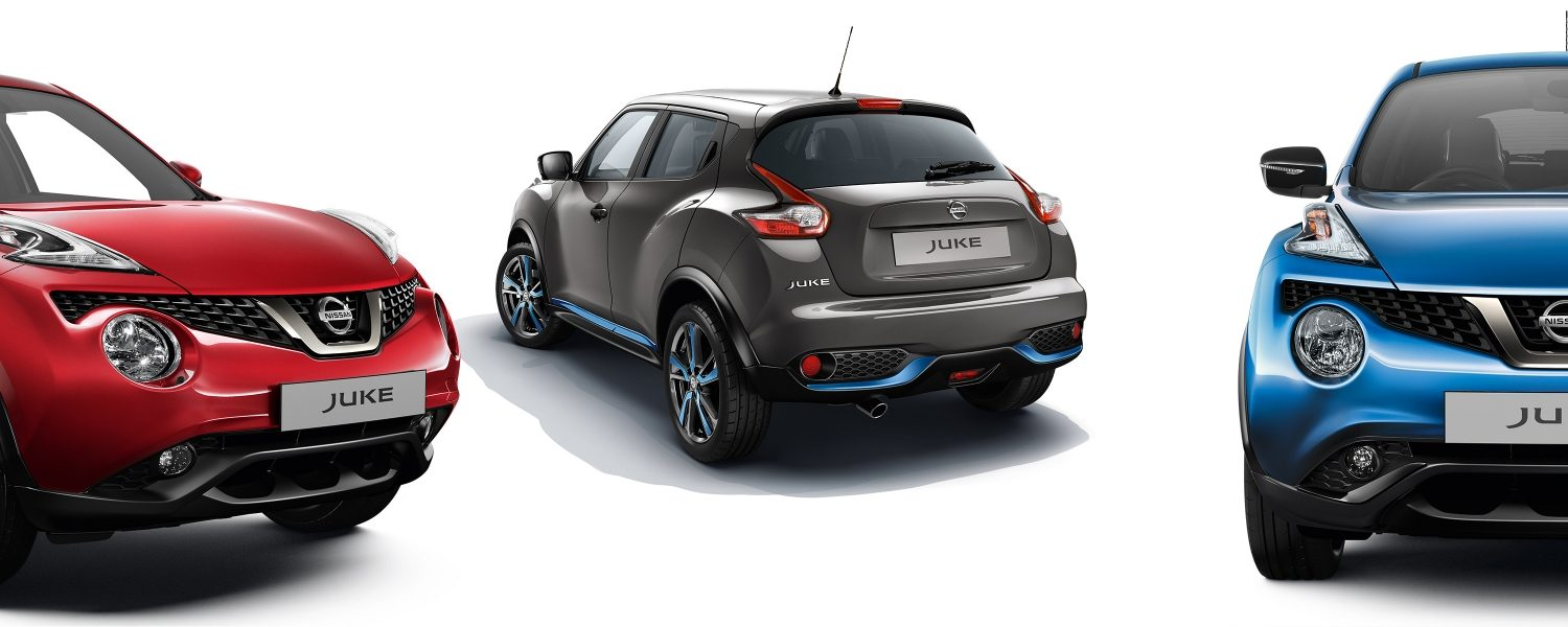 2018 Nissan JUKE packshots composition with red 3/4 front, grey 3/4 rear and blue full front