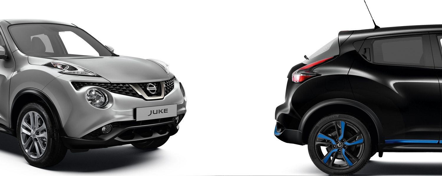 2018 Nissan JUKE packshots composition with silver 3/4 front and black profile