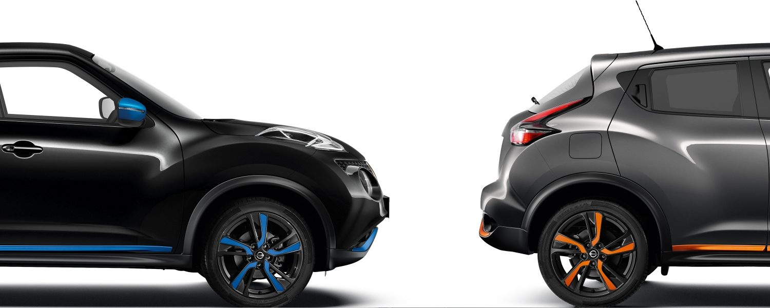 2018 Nissan JUKE packshots composition with black profile and grey profile