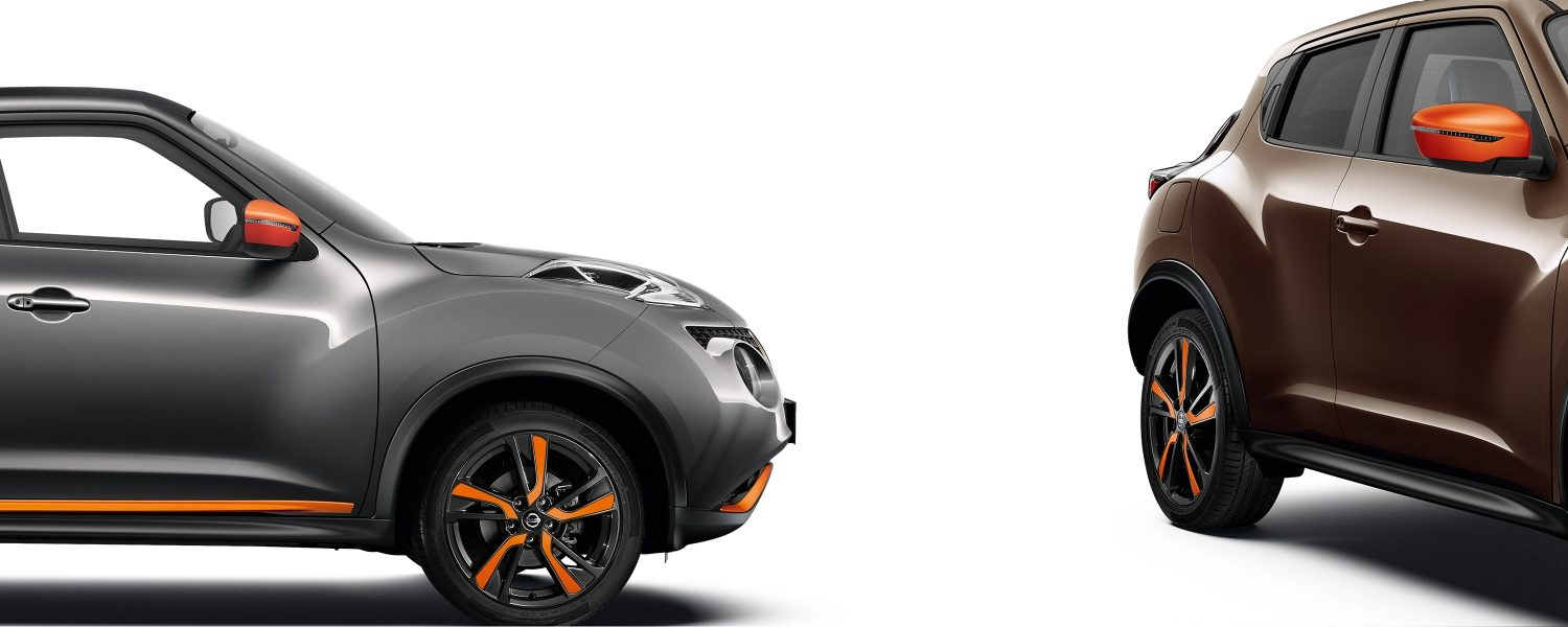 2018 Nissan JUKE packshots composition with grey profile and 3/4 front bronze