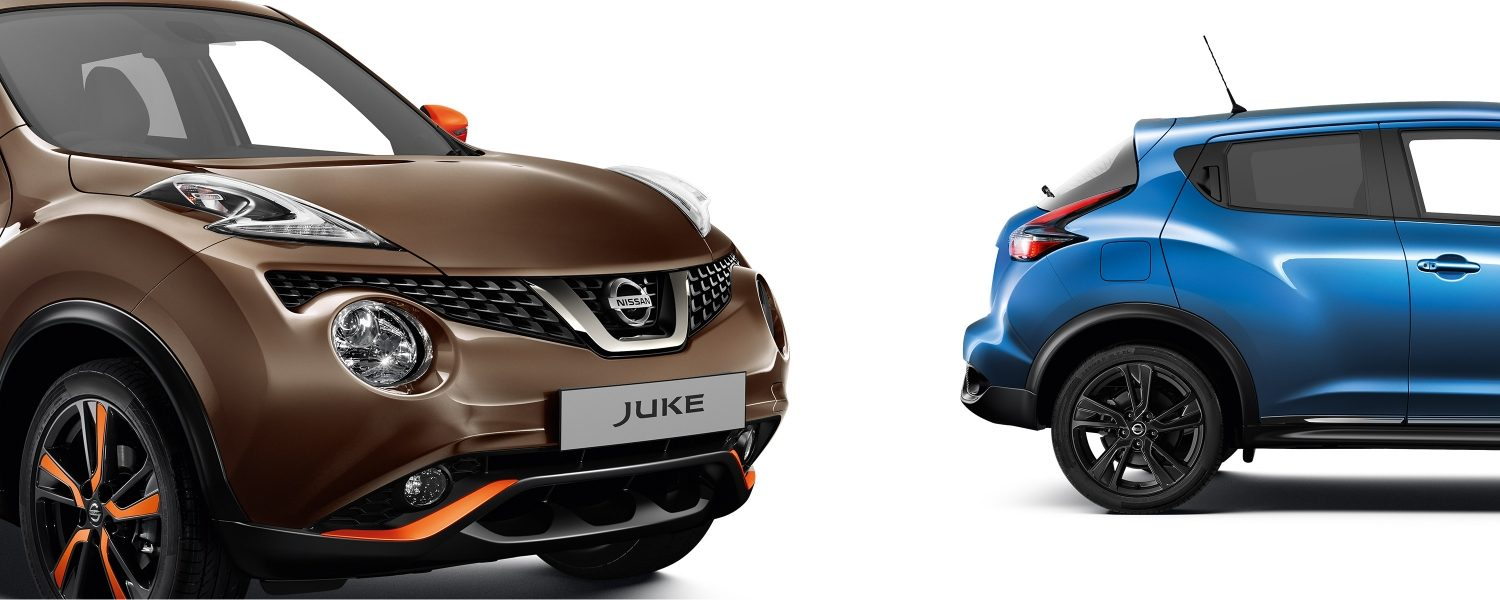 2018 Nissan JUKE packshots composition with 3/4 front bronze and blue profile