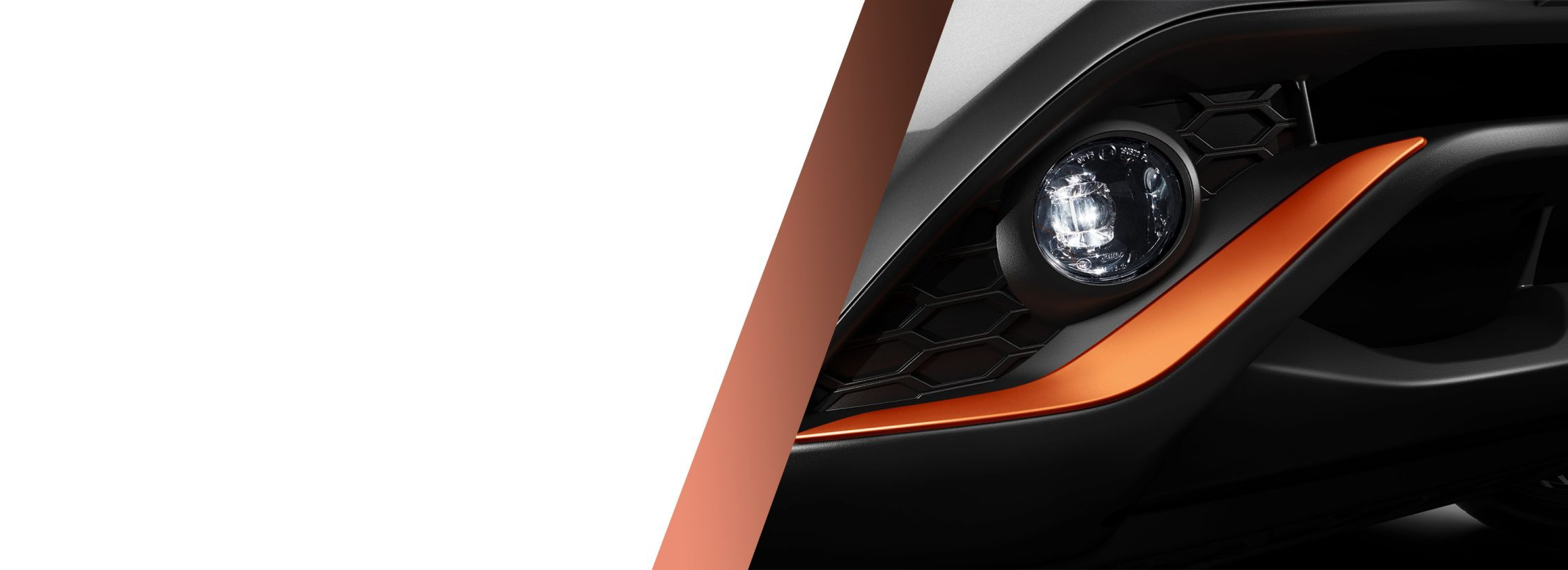 New Nissan Juke detail of the energy orange front bumper finisher
