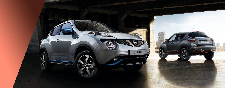 Novi Nissan Juke s sprednjega vogala 3/4 in zadnjega vogala 3/4