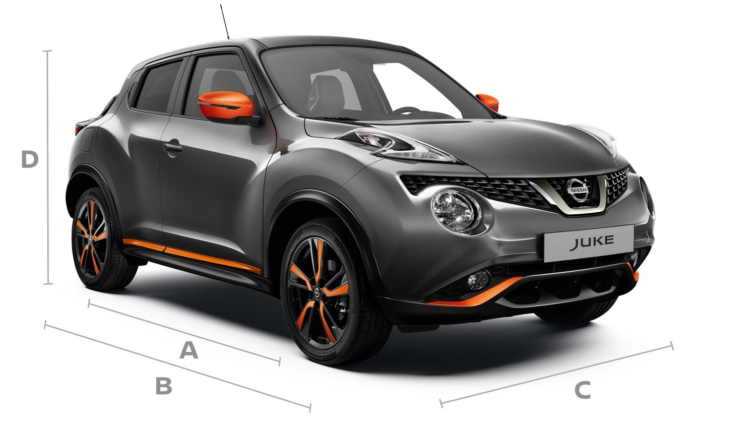 2018 Nissan JUKE 3/4 front shot with dimensions