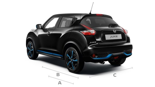 2018 Nissan JUKE 3/4 rear shot with dimensions