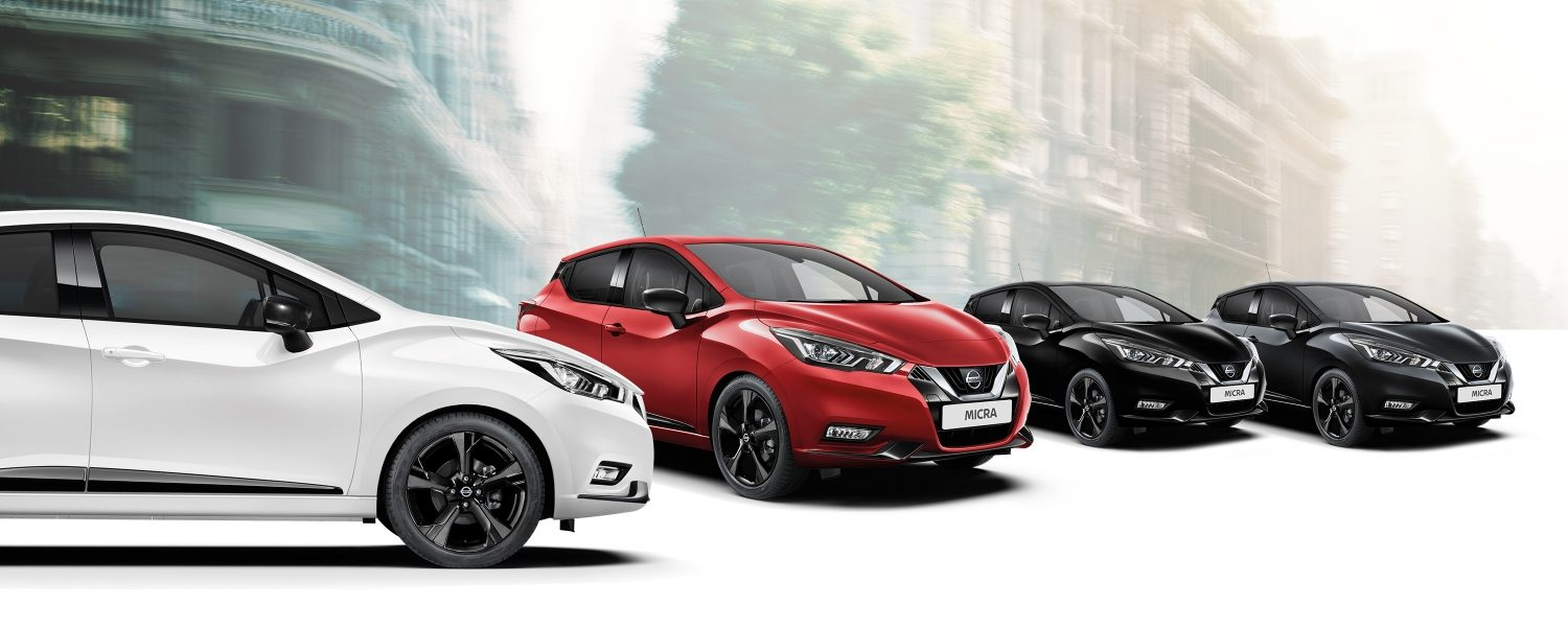 New Nissan Micra N-Sport color range, including white, red, black and grey choices,