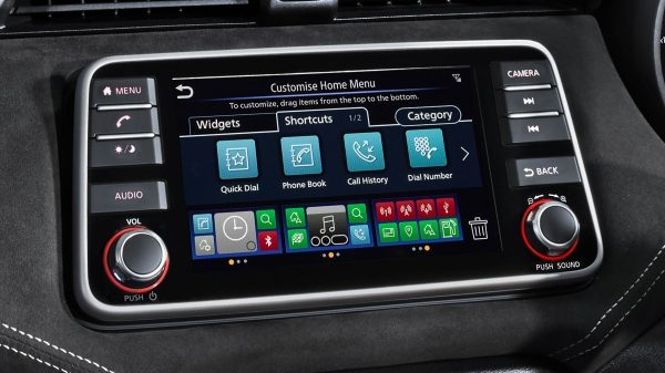Photo of the NissanConnect multi-touch display screen from the Nissan Micra N-SPORT