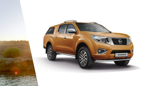 Nissan Navara 3/4 front packshot equipped with premium hard top