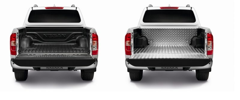 Nissan Navara rear view packshots showing the plastic and aluminium bedliners