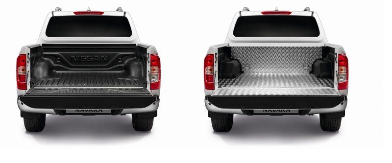Nissan Navara snimljen pozadi sa plastičnom i aluminijumskom oblogom teretnog prostora
