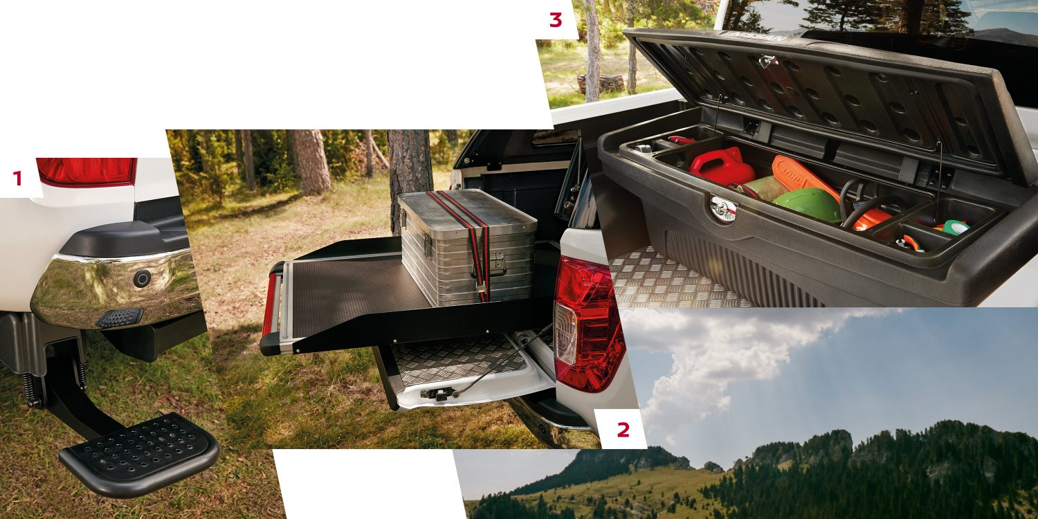 Nissan Navara comp showing retractable rear step, sliding tray and plastic tool box