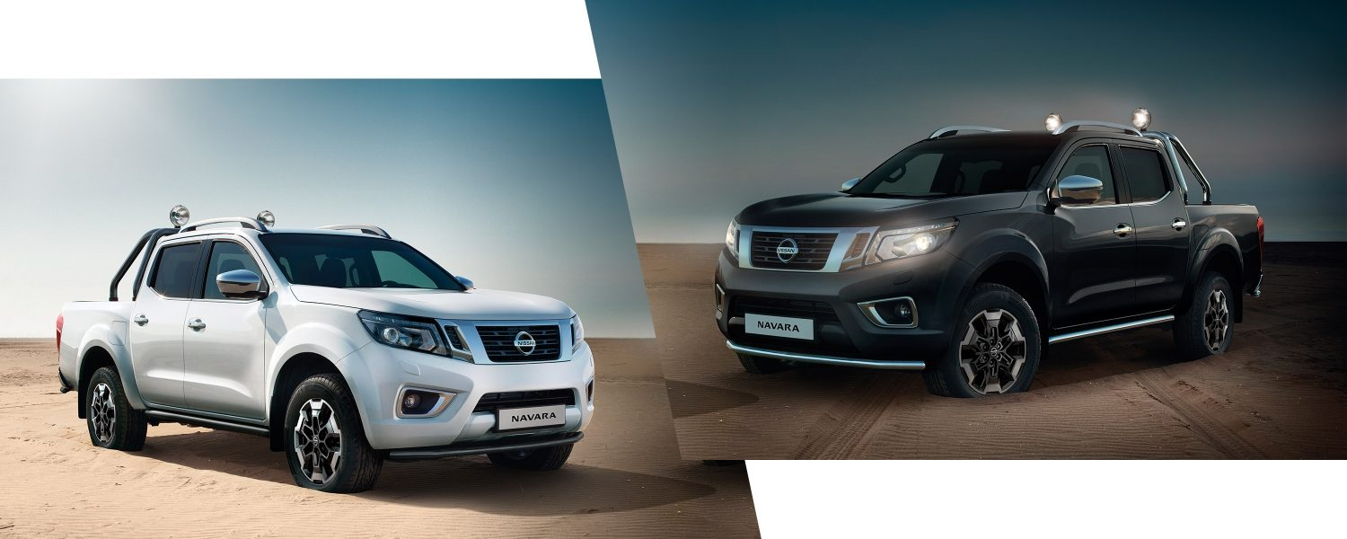 Two Nissan Navara 3/4 front views accessorized with black personalisation and chrome personalisation