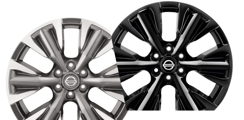 Nissan Navara composition with dark grey and black 18 inch alloy wheel diamond cut