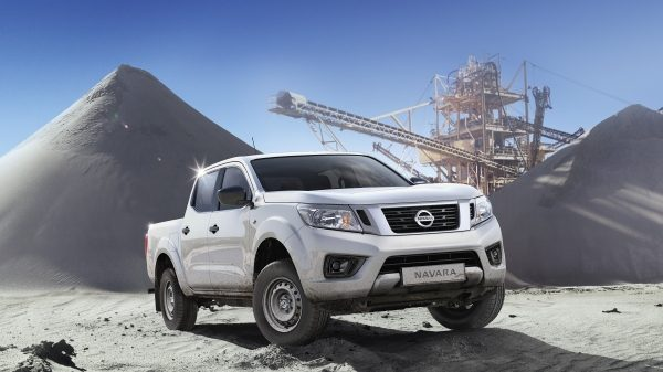 Nissan Navara 3/4 front view in a quarry