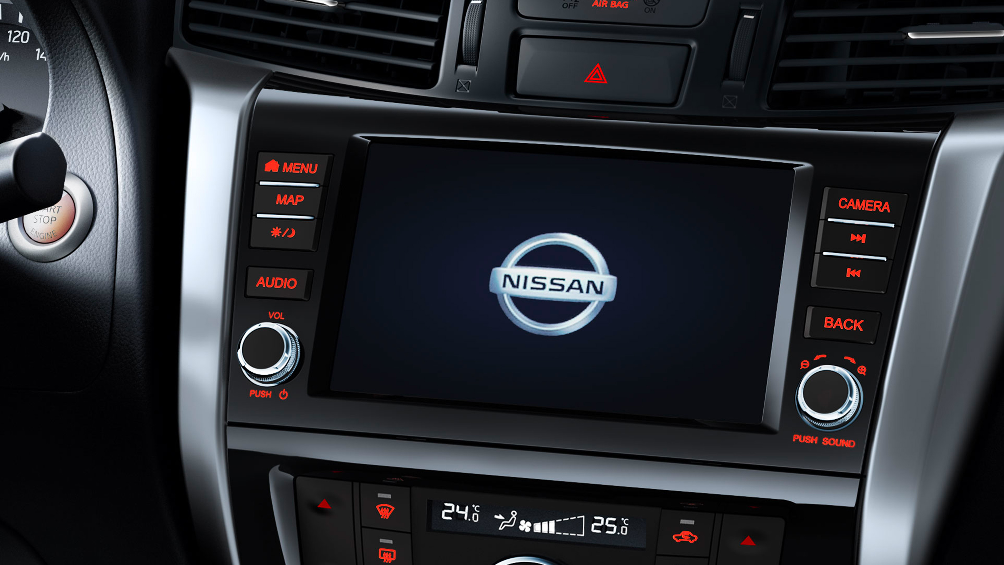Nissan Navara detail shot of the central console screen