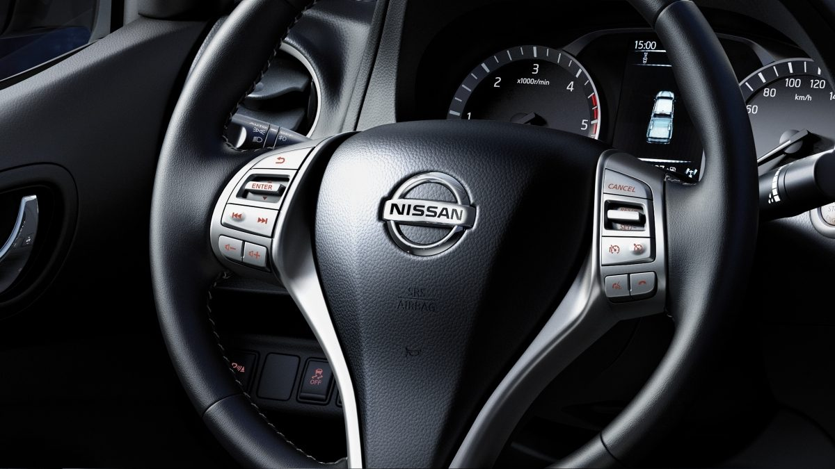 Nissan Navara detail shot of the steering wheel