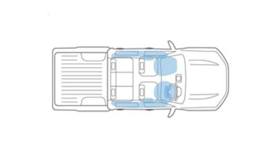 Nissan Navara illustration of the airbags