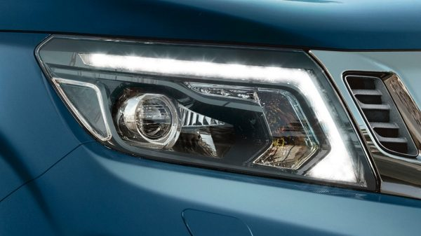 Nissan Navara detail shot of the LED daytime running headlights