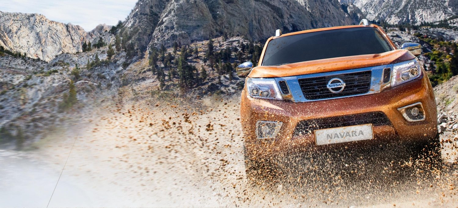 Nissan Navara front driving shot in the mud