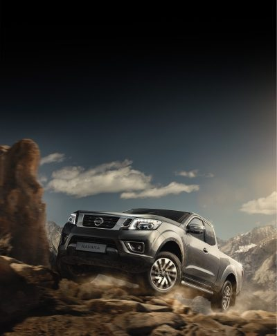 Nissan Navara driving shot off-road in the mountains