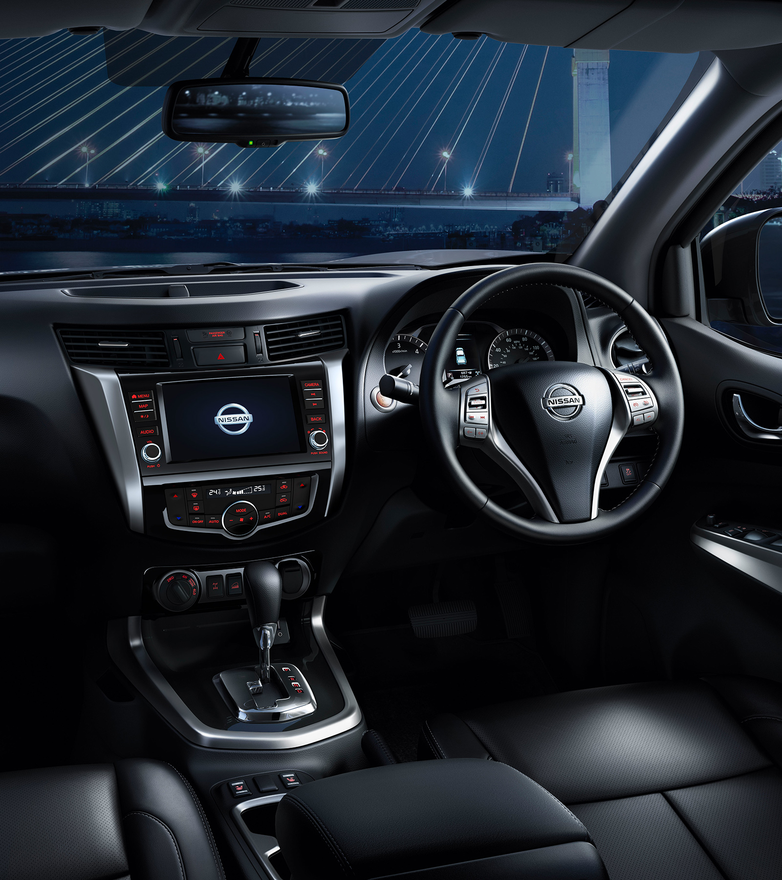 Nissan Navara interior shot showing crossover-like comfort