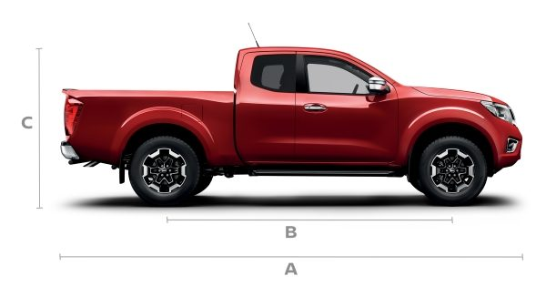 Nissan Navara King cab profile with lines showing dimensions