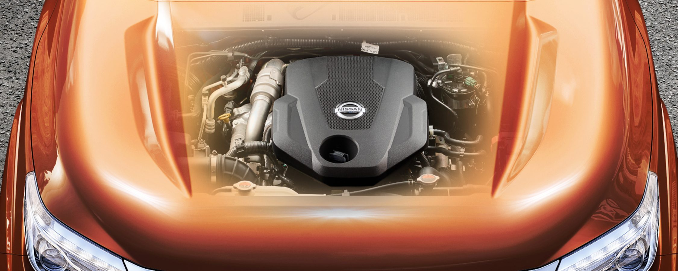 Nissan Navara ghost view of the engine through the hood
