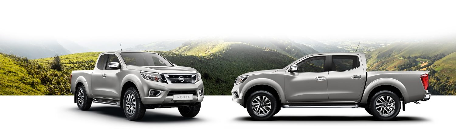 Nissan Navara 3/4 front and profile packshots with a mountain background