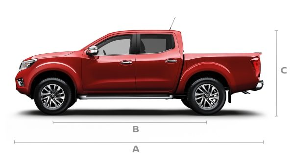 Nissan Navara double cab profile with lines showing dimensions