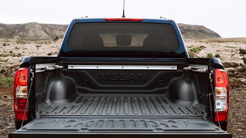 Nissan Navara rear view with bed tailgate open