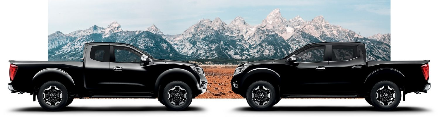 Two Nissan Navara profile packshot King Cab and Double Cab