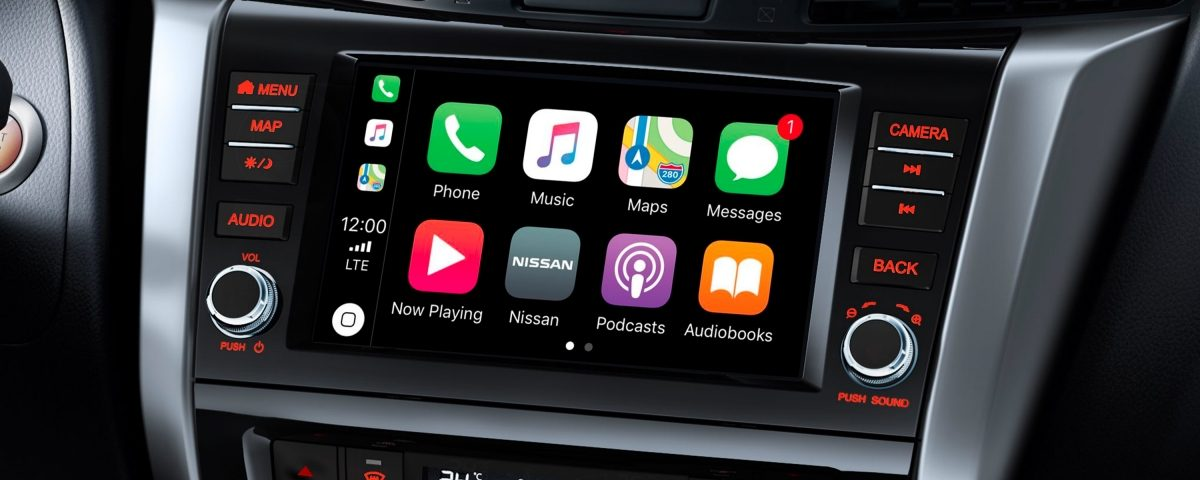 Nissan Navara interior screen showing Apple Carplay interface