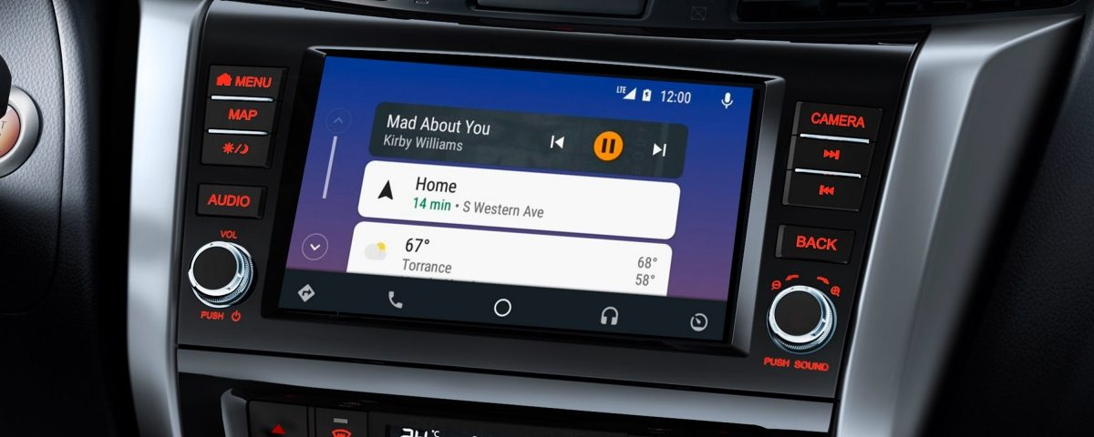 Nissan Navara interior screen showing Android Auto interface