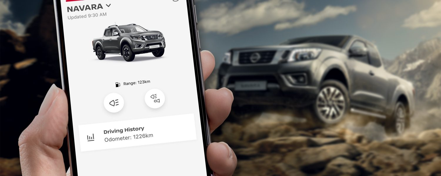 Nissan Navara and NissanConnect Services screen on smartphone