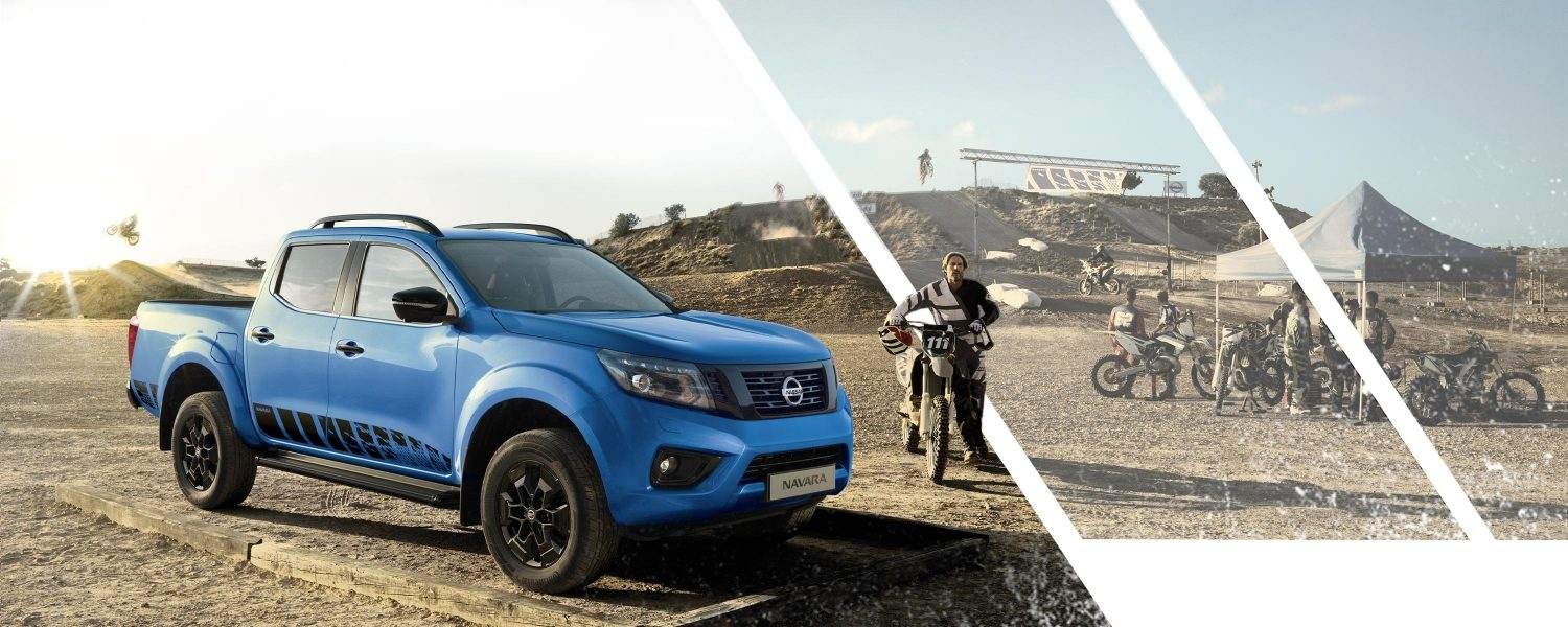 Nissan Navara N-Guard 3/4 front on a motorbike race track