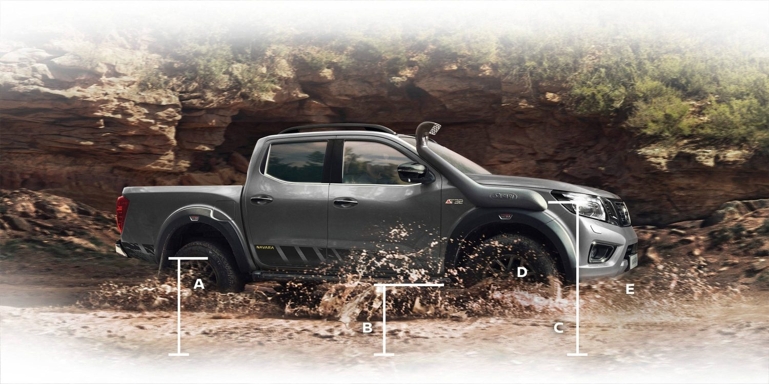 New Nissan Navara off-roader at32 pick-up profile with dimensions