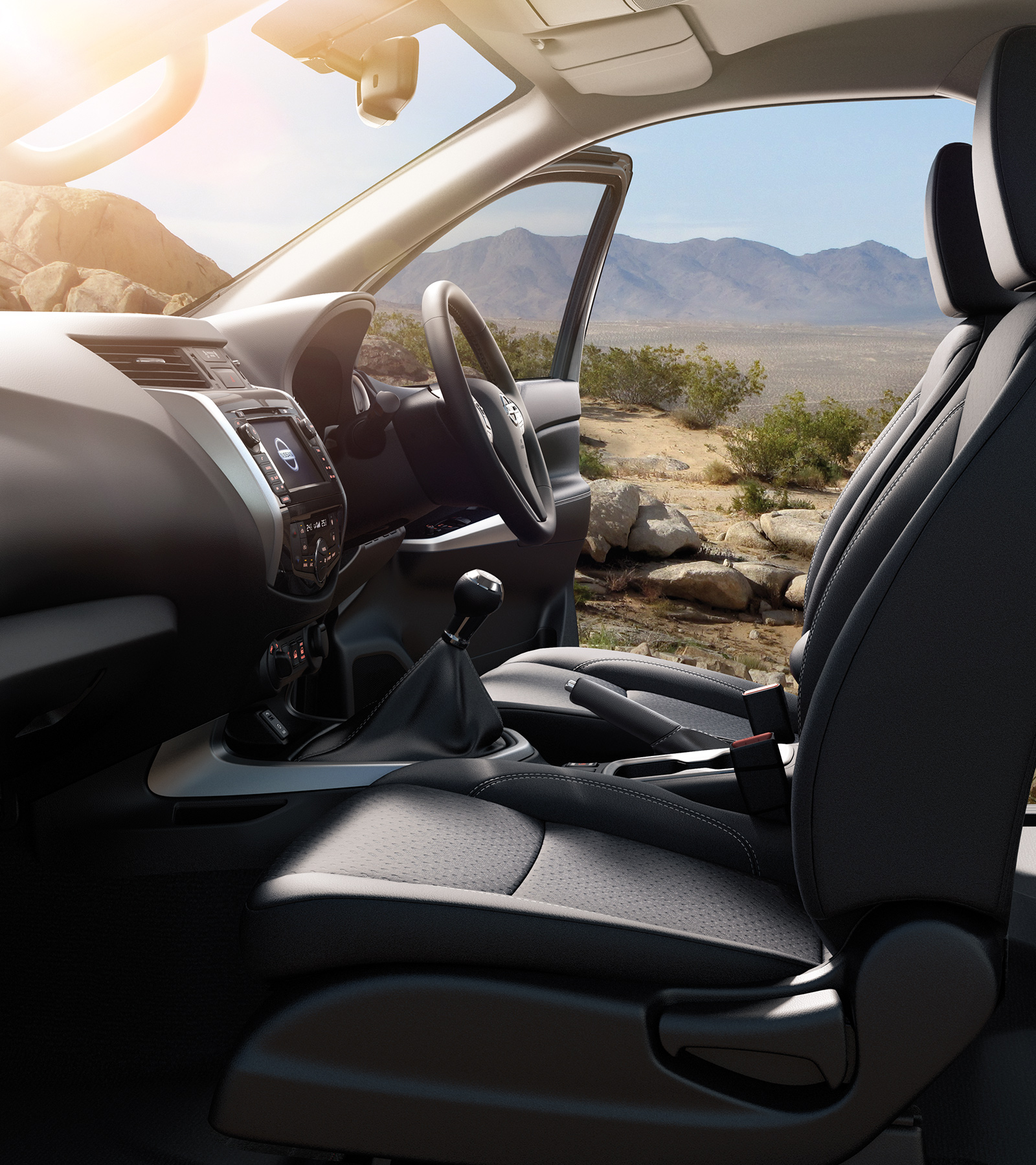 New Nissan Navara Off-Roader at32 pick-up profile interior of the car showing driver comfort