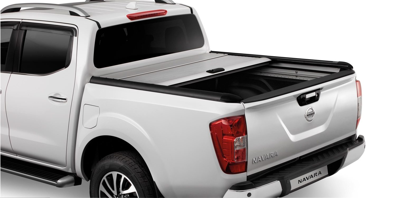 Nissan NP300 Navara Bronze - Rear high angled static view of bed with cargo
