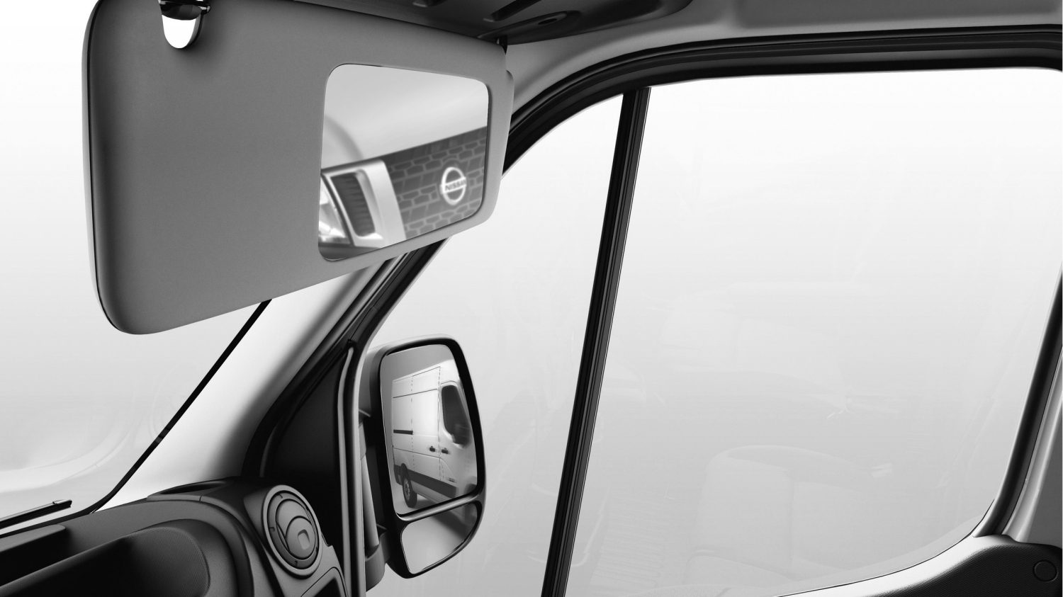 Nissan NV400 - Wide mirror on passenger's sunvisor view