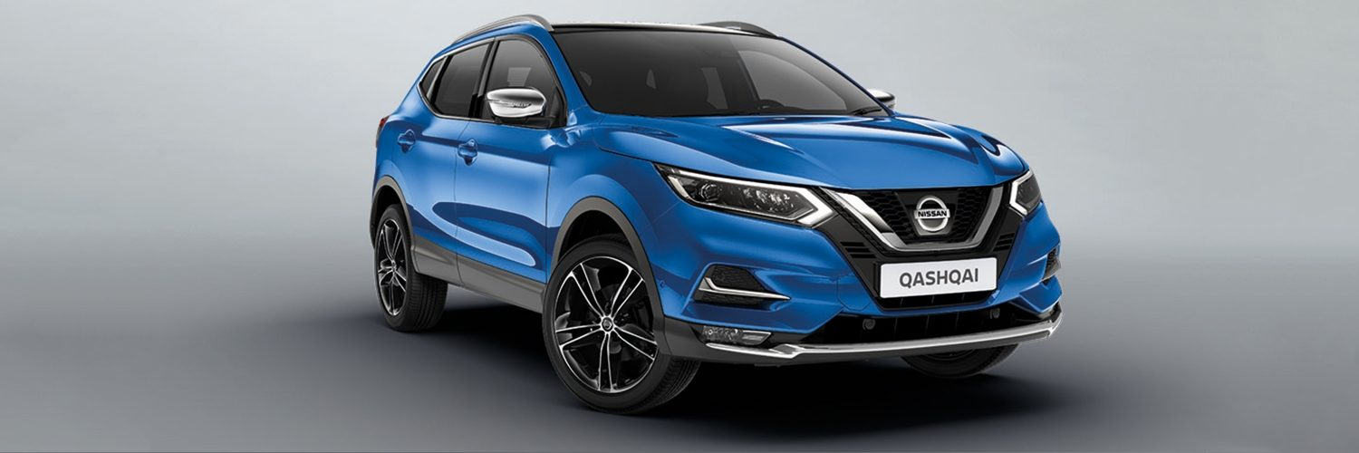 "Qashqai accessorised with 19"" ibiscus silver alloy wheel, chrome mirror caps and chrome front lip finisher"