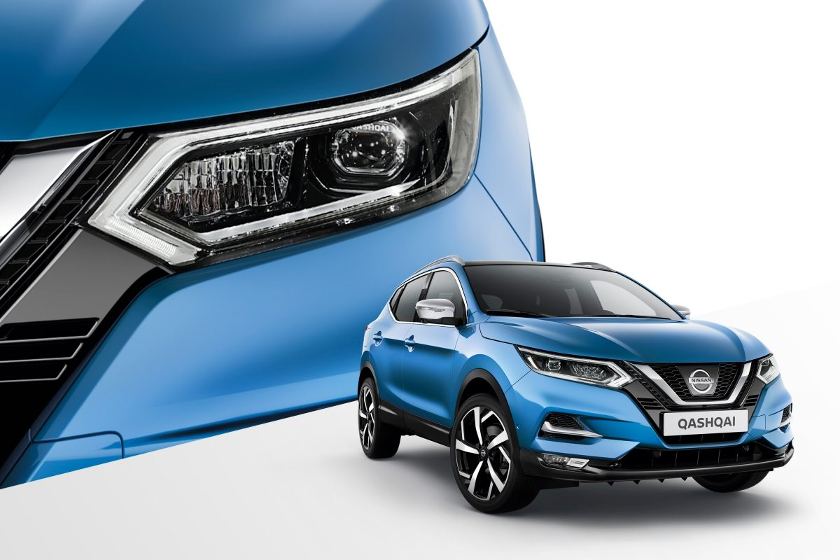 Qashqai collage 3/4 front and front detail of headlamp